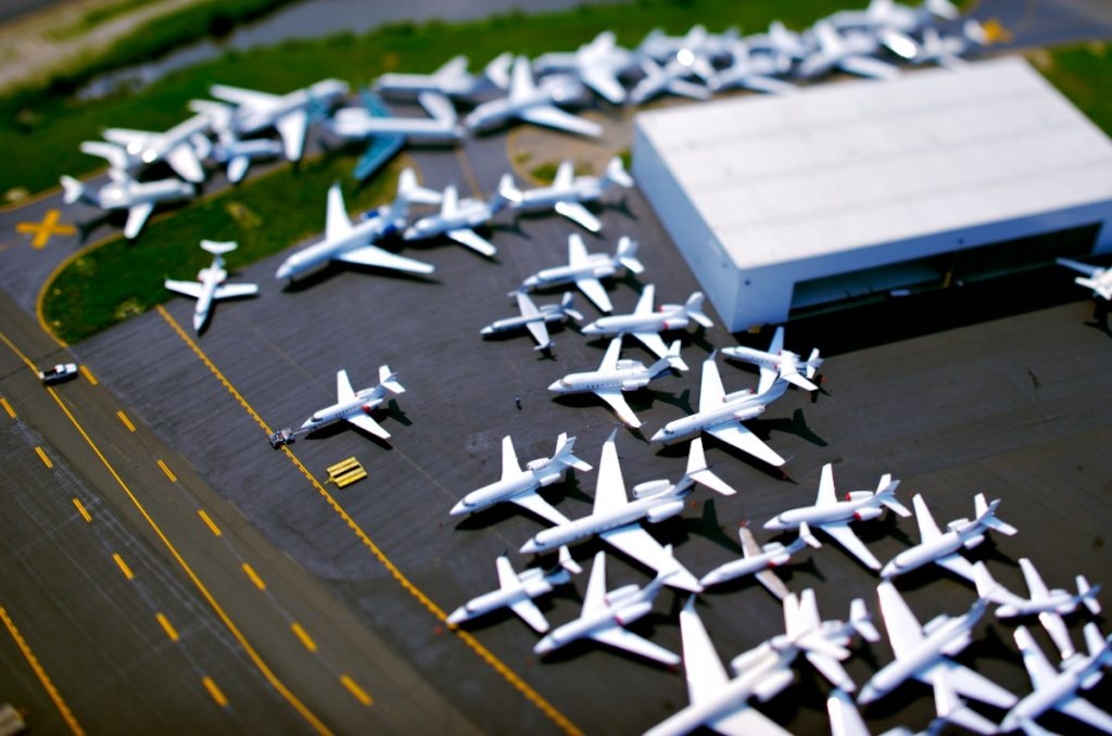 6/1/06: Dozens of private jets are embroiled in maze of congestion on one of the taxiways at Teterboro airport in NJ prior to the summer weekend. Photo by Vincent Laforet