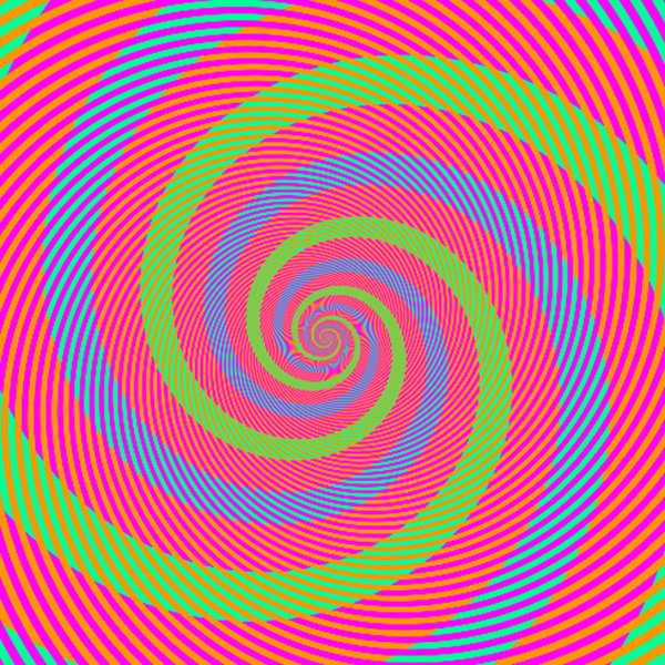 """A group of green and blue spirals"""" There appear to be spirals of light green or light blue. Actually, they are identical (R=0, G=255, B=150)."""